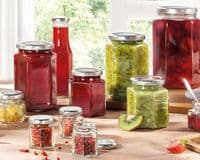 LEIFHEIT Preserving and Storage Hexagonal Glass Jar With Screw Top Lid 1700ml